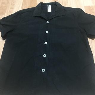 マーガレットハウエル(MARGARET HOWELL)のMHL 黒半袖解禁襟シャツ(シャツ/ブラウス(半袖/袖なし))
