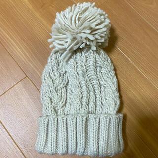 ビームス(BEAMS)のBEAMS ニット帽 ホワイト 白 ボンボンニット ビームス アイボリー(ニット帽/ビーニー)
