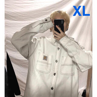 カーハート(carhartt)の新品♡カーハート WIP ジャケット デニムジャケット白 ホワイトXL(Gジャン/デニムジャケット)