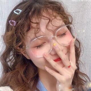 クリアメガネ 伊達メガネ ビッグフレーム オルチャン 韓国 透明 おしゃれ(サングラス/メガネ)