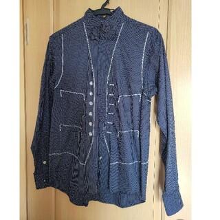 エイス スタンドカラー 長袖シャツ ネイビー 立襟 水玉  蝶ネクタイ 2号(シャツ)