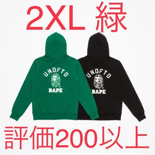 アベイシングエイプ(A BATHING APE)のBAPE X UNDFTD PULLOVER HOODIE green 2XL(パーカー)
