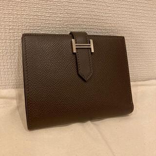 エルメス(Hermes)の超美品 HERMES エルメス ベアン 二つ折り財布 ダークブラウン(折り財布)