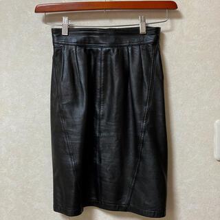 シープスキン レザースカート(ひざ丈スカート)