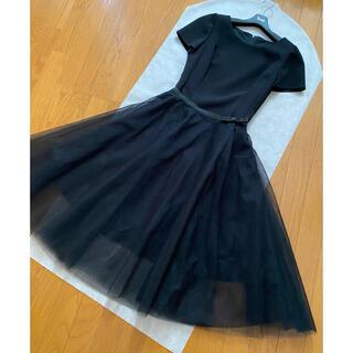 ルネ(René)の新品 ルネ チュール スカート 34 ブラック(ひざ丈スカート)