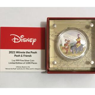 ディズニー(Disney)のプー&フレンズ 1オンス銀貨カラープルーフ  ディスプレイ 2021年銘(置物)