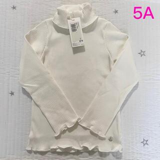 プチバトー(PETIT BATEAU)の新品未使用 プチバトー リブ タートルネック Tシャツ 5ans 白(Tシャツ/カットソー)