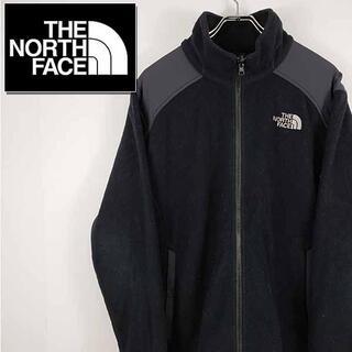 ザノースフェイス(THE NORTH FACE)の【古着】ノースフェイス フリースジャケット メンズ ブラック×グレー(ニット/セーター)