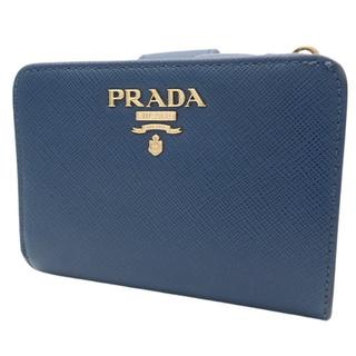 プラダ(PRADA)のプラダ 2つ折り財布 サフィアーノ ブルー青 40800060871(コインケース)