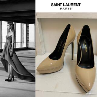 Saint Laurent - SAINT LAURENT PARIS エディ期 パテントレザーヒールパンプス