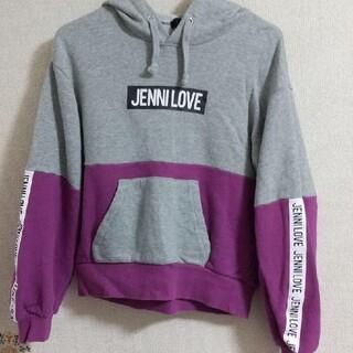 ジェニィ(JENNI)のJENNI可愛いグレーとパープル配色ロゴパーカー(Tシャツ/カットソー)