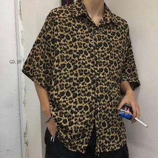 ★SALE★ メンズ シャツ ヒョウ柄 レオパード ブラウン 韓国 韓流5(シャツ/ブラウス(長袖/七分))