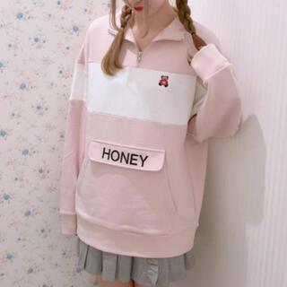 ハニーシナモン(Honey Cinnamon)のHoney Cinnamon ハーフ ジップ スウェット トレーナー  (トレーナー/スウェット)