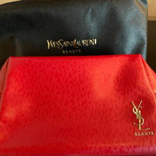 Yves Saint Laurent Beaute - イヴ・サンローラン ボーテ/YSLロゴ入りポーチ赤☆アニマルモチーフ
