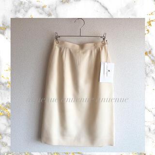 クレージュ(Courreges)の【新品・タグ付き】Courrèges シルク50% ロゴ入り スカート(ひざ丈スカート)