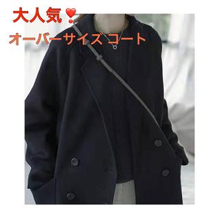 【新品タグ付】シンプル Pコート ブラック(チェスターコート)