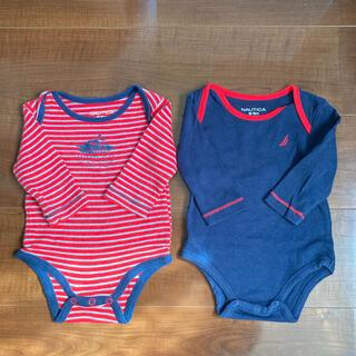 ノーティカ(NAUTICA)のNAUTICAノーティカ baby 長袖ロンパース 2枚セット 赤 ネイビー(ロンパース)