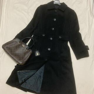 バーバリー(BURBERRY)の美品 バーバリー ロンドン アンゴラ コート ブラック 黒 フォーマル ロング(ロングコート)