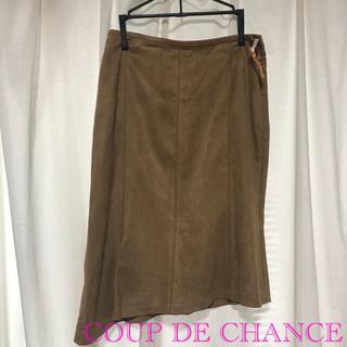 クードシャンス(COUP DE CHANCE)のスエード風アシンメトリースカート(ひざ丈スカート)