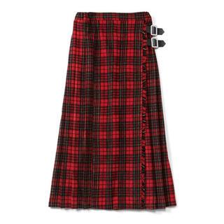 ミルクボーイ(MILKBOY)の赤チェックロングスカート 2段ベルト 巻きチェックロングスカート【完売品】未使用(ロングスカート)