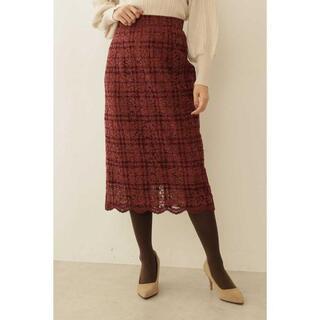プロポーションボディドレッシング(PROPORTION BODY DRESSING)のチェックフロッキーレースロングタイトスカート(ロングスカート)