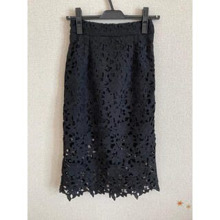 セシルマクビー(CECIL McBEE)のセシルマクビー レーススカート黒(ひざ丈スカート)