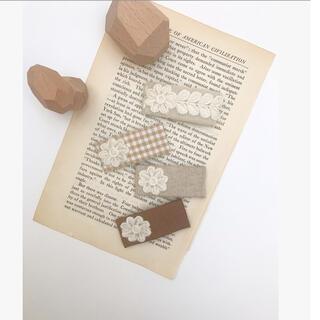 キャラメルベビー&チャイルド(Caramel baby&child )の刺繍 パッチンピン ブレード 刺繍パッチンピン スクエアピン  アンティークピン(その他)