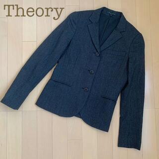 セオリー(theory)のtheoryテーラードストレッチウールジャケット黒ストライプ0カジュアルスーツS(テーラードジャケット)