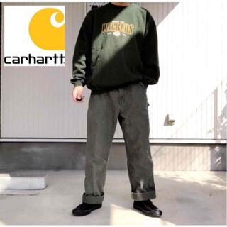 カーハート(carhartt)の【希少】90s USA製 カーハート ダック ワイドペインターパンツ グリーン(ワークパンツ/カーゴパンツ)