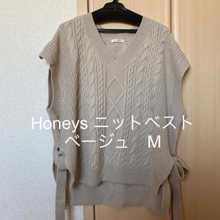 ハニーズ(HONEYS)のHoneys 脇リボン付ニットベスト(ベスト/ジレ)