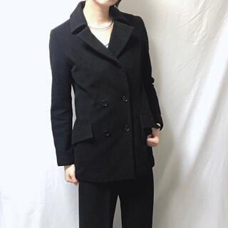 ジーヴィジーヴィ(G.V.G.V.)のブラック ジャケット テーラード ミドル ダブルボタン コート g.v(テーラードジャケット)
