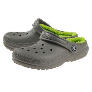 crocs - 19cm クロックス グレー classic lined clog ボア