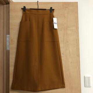 ジーユー(GU)の新品♡GU♡フロントポケットミディスカート ブラウンXS(ひざ丈スカート)