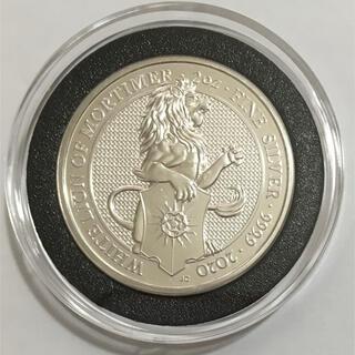 クイーンズ・ビースト 「ホワイト・ライオン」2オンス銀貨 黒リングカプセル入り(貨幣)