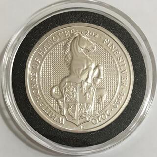 クイーンズ・ビースト 「ホワイト・ホース」2オンス銀貨 黒リングカプセル入り(貨幣)