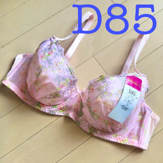 ピンク D85  花柄刺繍シフォンレースブラジャー 未使用新品タグ付き(ブラ)