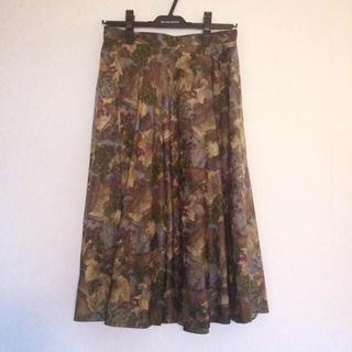 古着屋 ミモレ丈 ぶどう柄 スカート(ひざ丈スカート)