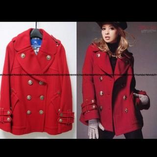 バーバリーブルーレーベル(BURBERRY BLUE LABEL)のバーバリーブルーレーベル 赤Pコート 36サイズ 中古美品(ピーコート)