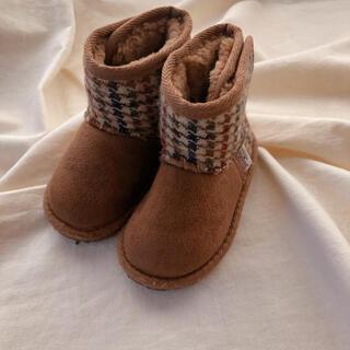 シマムラ(しまむら)のハリスツイードのムートンブーツ キッズ 14㎝(ブーツ)