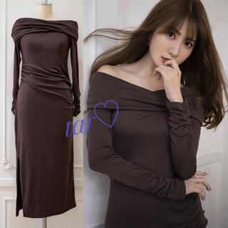フレイアイディー(FRAY I.D)のHer lip to Off-the-shoulder Jersey Dress(ロングワンピース/マキシワンピース)
