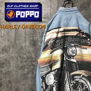 Harley Davidson - ハーレーダビッドソン☆バイクビッグデザインダブルポケットデニムシャツ