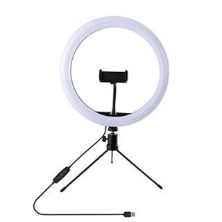 LEDリングライト 外径10in 3色モード付き 自撮り 卓上ライト