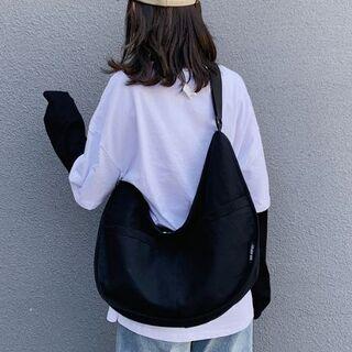 大人気!☆大容量☆バナナ☆キャンバスショルダーバッグ (ブラック)(ショルダーバッグ)