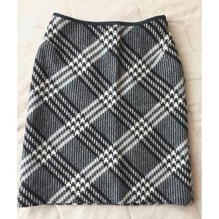 クードシャンス(COUP DE CHANCE)のクードシャンス 毛90%秋冬物スカート モノトーンチェック柄 36(S) 日本製(ひざ丈スカート)