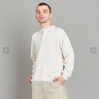 スティーブンアラン(steven alan)のスティーブンアラン ニットポロシャツ  コットン 長袖 オフホワイト XL(ポロシャツ)