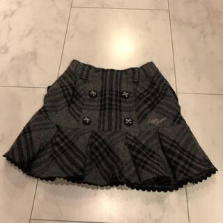 mezzo piano - メゾピアノ チェック柄裾レースウールスカート 120