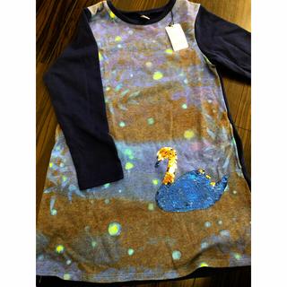 グラニフ(Design Tshirts Store graniph)の130 ネイビー スパンコール スワン 新品 ネイビー(Tシャツ/カットソー)