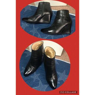 ミッドウエスト(MIDWEST)のMID by MIDWEST★切り替え ウェッジ アンクル ブーツ 黒38(ブーツ)