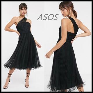 エイソス(asos)の新品 ASOS ワンショルダー レース ドレス ワンピース M UK8 送料込み(ミディアムドレス)