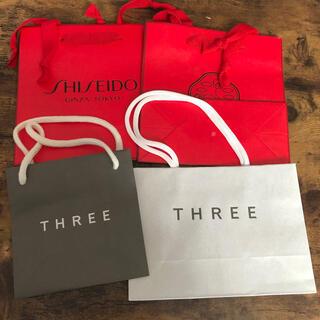 スリー(THREE)の紙袋 THREE 資生堂 4点セット(ショップ袋)